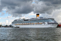 Costa Pacifica large cruise ship is docked in the crusie terminal of Klaipeda city. Royalty Free Stock Image