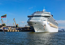 Costa Pacifica large cruise ship is docked in the crusie terminal of Klaipeda city. Royalty Free Stock Photography