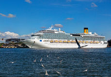 Costa Pacifica large cruise ship is docked in the crusie terminal of Klaipeda city. Royalty Free Stock Photos