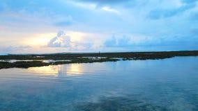 Costa costa pedregosa del océano en la puesta del sol pintoresca almacen de video
