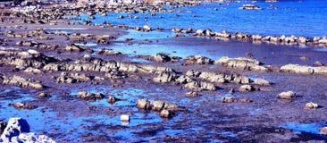 Costa profonda e bassa dell'acqua di mare Fotografie Stock Libere da Diritti