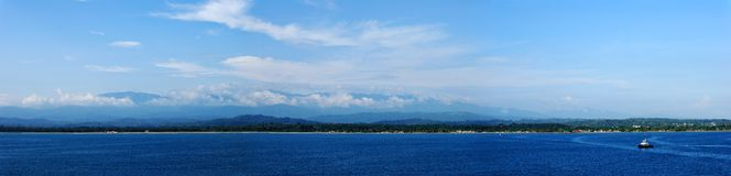 Costa Rica. The panoramic view of Costa Rica's coastline near Limon city royalty free stock image