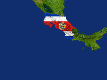 Costa Rica. Highlighted Satellite Image Of Costa Rica With The Countries Flag Covering It Stock Photo
