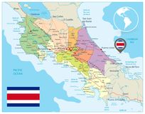 Costa Rica Administrative Map. Detailed  administrative map of Costa Rica with major cities, roads and water objects Royalty Free Stock Photos