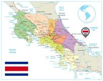 Costa Rica Administrative Map En blanco ilustración del vector
