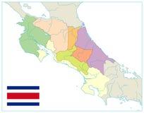 Costa Rica Administrative Map En blanco NINGÚN texto ilustración del vector