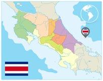 Costa Rica Administrative Map NINGÚN texto libre illustration