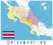 Costa Rica Administrative Map y Pin Icons plano libre illustration