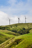 Costa Rica, America, Eolic energy turbines on top of the Hill Royalty Free Stock Photos