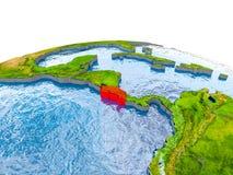 Costa Rica auf Modell von Erde Lizenzfreie Stockfotos