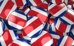 Costa Rica Badges Background - Stapel van Costa Rican Flag Buttons Royalty-vrije Stock Foto