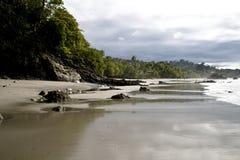 Costa Rica Beach Shore. Beautiful Costa Rica Beach Shore at Manuel Antonio National Park, Quepos Tropical Rainforest Royalty Free Stock Images