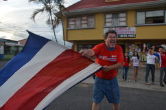 Costa Rica celebrates: People take the streets after quallifiying to quarter finals on Brasil 2014 world cup Royalty Free Stock Photo