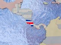 Costa Rica com a bandeira no globo Imagem de Stock Royalty Free