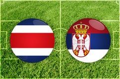 Costa Rica contra o fósforo de futebol da Sérvia ilustração royalty free
