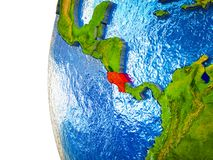 Costa Rica on 3D Earth. Costa Rica highlighted on 3D Earth with visible countries and watery oceans. 3D illustration vector illustration