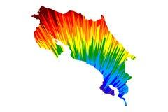 Costa Rica - el mapa es modelo colorido diseñado del extracto del arco iris stock de ilustración
