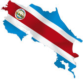 Costa Rica flag. Vector illustration of a map and flag from Costa Rica Stock Images