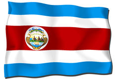 Costa Rica Flag. Flag of Costa Rica waving in the wind Royalty Free Illustration
