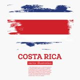 Costa Rica Flag with Brush Strokes. Royalty Free Stock Photography