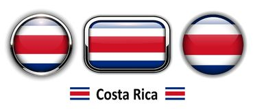 Costa Rica flag buttons. 3d shiny vector icons Stock Photos