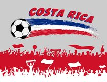 Costa Rica flag colors with soccer ball and Costa Rican supporte. Rs silhouettes. All the objects, brush strokes and silhouettes are in different layers and the Royalty Free Stock Photo