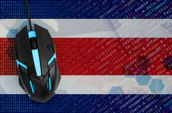 Costa Rica flag and computer mouse. Digital threat, illegal actions on the Internet. Costa Rica flag and modern backlit computer mouse. The concept of digital stock photography