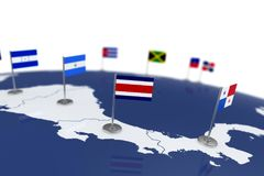 Costa Rica flag. Country flag with chrome flagpole on the world map with neighbors countries borders. 3d illustration rendering flag Stock Image