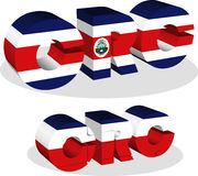 Costa Rica Flag dans le puzzle Photos libres de droits