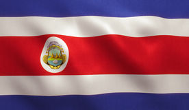 Costa Rica Flag. With fabric texture. 3D illustration Stock Photos