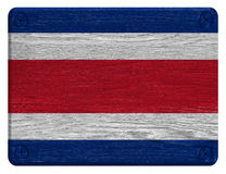 Costa Rica flag. Painted on wooden tag Royalty Free Stock Photos