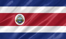Costa Rica Flag. With waving on satin texture royalty free illustration