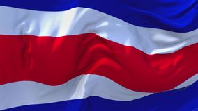 Costa Rica Flag Waving in Wind Continuous Seamless Loop Background.