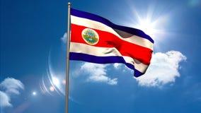 Costa rica flaga państowowa falowanie na flagpole royalty ilustracja