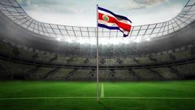 Costa rica flaga państowowa falowanie na flagpole ilustracja wektor