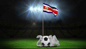 Costa Rica flaga państowowa falowanie na flagpole z wiadomością ilustracji