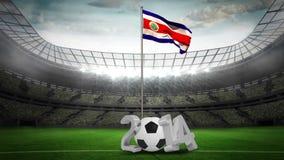 Costa Rica flaga państowowa falowanie na flagpole z 2014 wiadomością ilustracji