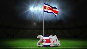 Costa Rica flaga państowowa falowanie na futbolowej smole z wiadomością ilustracja wektor