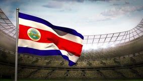 Costa Rica flaga państowowa falowanie na stadium arenie royalty ilustracja