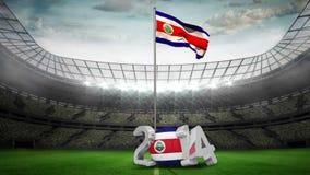 Costa Rica flaga państowowa falowanie w stadionie futbolowym royalty ilustracja