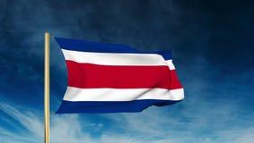Costa Rica flaga suwaka styl Machać w wygranie ilustracja wektor