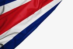 Costa Rica flaga tkanina z copyspace dla tw?j teksta na bia?ym tle ilustracji