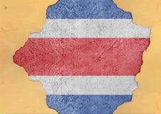 Costa Rica flaggaabstrakt begrepp i vägg för agg för fasadstruktur stor skadad fotografering för bildbyråer