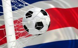 Costa Rica-Flagge mit Meisterschaftsfußball Stockfotografie