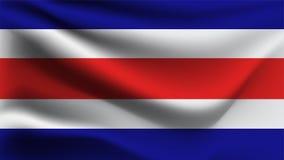 Costa rica flagi falowanie z wiatru 3D ilustracji fali flagą royalty ilustracja