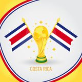 Costa Rica Football Champion World Cup 2018 - bandeira e troféu dourado Fotografia de Stock Royalty Free