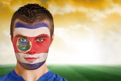 Costa rica football fan in face paint Stock Images