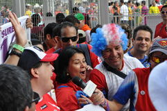 Costa Rica football fans celebrating Stock Photography
