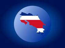 Costa Rica globe. Map and flag of Costa Rica globe illustration Royalty Free Stock Image
