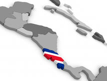 Costa Rica on globe with flag Royalty Free Stock Photos